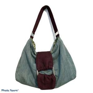 """1154 Lill Studio Shoulder Bag Grn Brn 10""""H X 14""""W"""